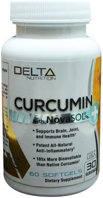 Delta Nutrition Curcumin w NovaSOL Liquid Micelle Technology – 185x more Bioavailable than 95 Standardized Native Curcumin – 60mg per serving