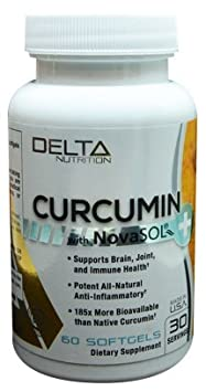 Delta Nutrition Curcumin w NovaSOL Liquid Micelle Technology – 185x more Bioavailable than 95 Standardized Native Curcumin – 60mg per serving