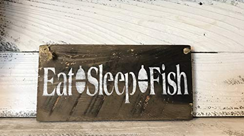 (Eat Sleep Fish Barn Wood Sign)