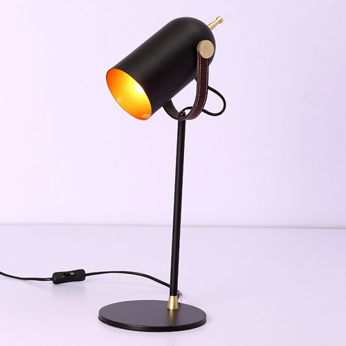 KMYX Adjustable Lampshade Table Lamp Creative Leather Desk Lamp Iron Paint Body for Bedroom Living Room Study Reading Lights Children's Room (Size : Style A) ()