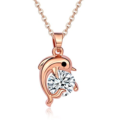 - CHUYUN Rhinestone Jumping Dolphins Pendant Chain Necklace Love Souvenir Jewelry Necklace Classic Clear Dolphin Pendant Fashion Jewelry Birthday Gift (gold)