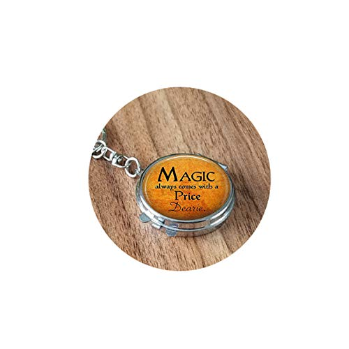 Halloween Costume Jewelry-Magic Always Comes a Price Dearie-Rumpelstiltskin Quote-Once Upon a Time-Magic Spell Folding Mirror Travel Portable Customized ()