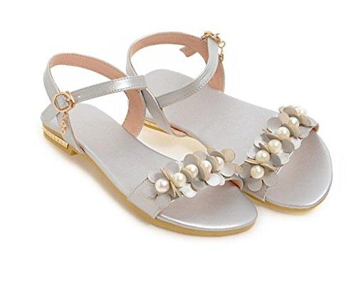 de Shopping Tous Jours 40 Sliver Les école Perles 32 Dames xie d'été pour Sandales 41 Confortables 1cm Appartements Fleurs wzCqBY