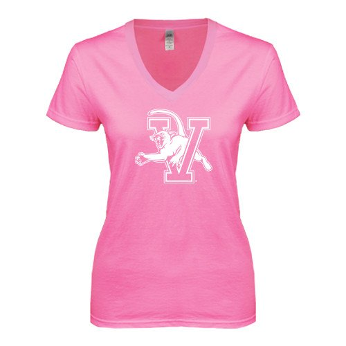 Vermont Next Level Ladies Junior Fit Deep V Pink Tee 'Official Logo'