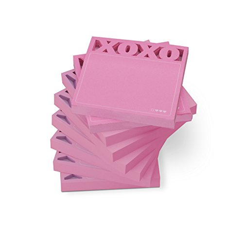 Die Cut Sticky Notepad - Knock Knock Desk Pad Sticky Note Pad (12562-8), Die Cut XOXO, 8-Count