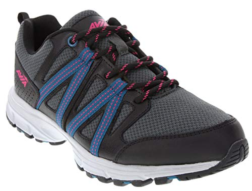 (Avia Women's Shoe Vertex Lace Up Performance Running Sneaker with Cushioning and Shock Absorption Black/Grey/Pink)