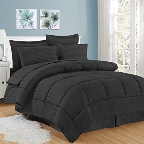 Sweet Home Collection 8 Piece Comforter Set Bag Stripe Design, Bed Sheets, 2 Pillowcases, & 2 Shams Down Alternative All…