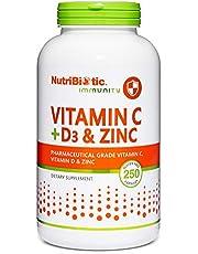 NutriBiotic – Vitamin C + Vitamin D3 & Zinc, 250 Capsules | Potent, Comprehensive Immune Support | Essential & Antioxidant Daily Supplement | Gluten & GMO Free