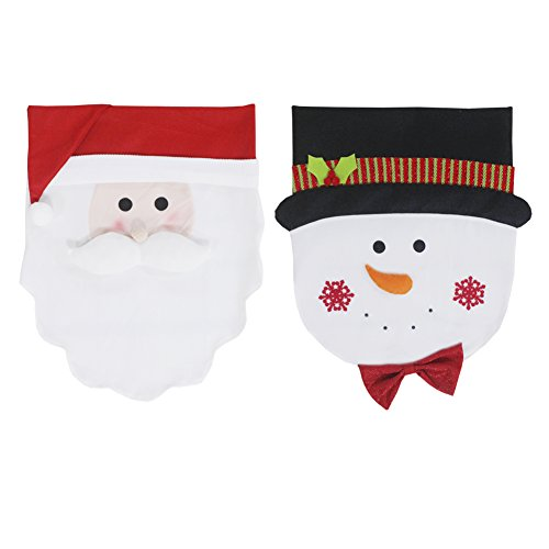 2Pcs Xmas Chair Decorative SlipCover Ornaments for Christmas Creative Farbic Home Garden Yard Dining Room Decoration - Snowman & Santa Claus by Magnificent Store