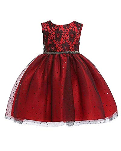 Girls Lace Crystal Knee Girl Dresses for Wedding Party