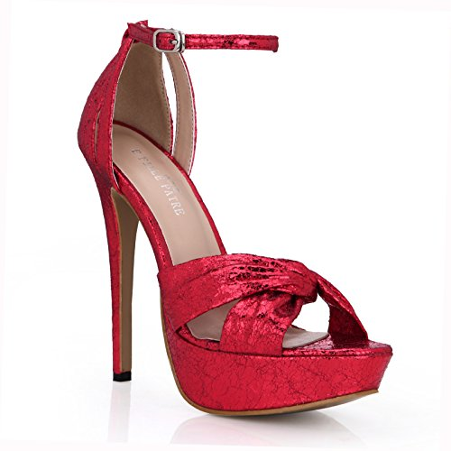 New Female sandals temperament and proven high-heel shoes waterproof red burst tattoo women shoes Red