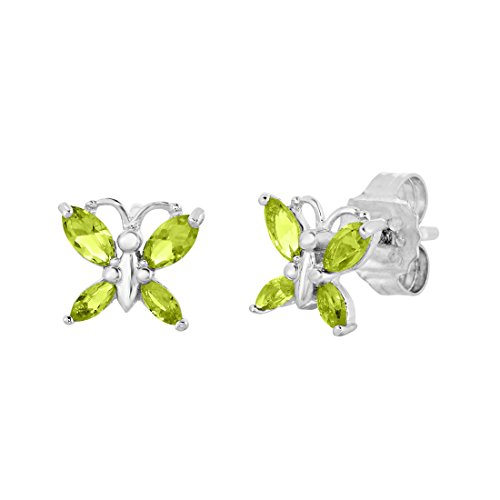 - Sterling Silver Butterfly Stud Earring with Simulated Birthstone & CZ for Girls (August)