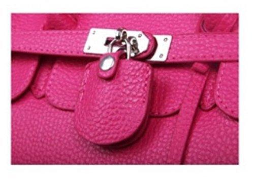 Frauen Taschen, Damen Handtaschen, Rosa Hobo-Kuh-Leder PadLock SchlüsselTote-Handtasche (Rosa)
