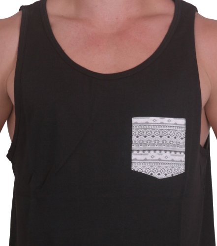 BetterStylz - Camiseta de tirantes - para hombre Schwarz/Brusttasche Bandana