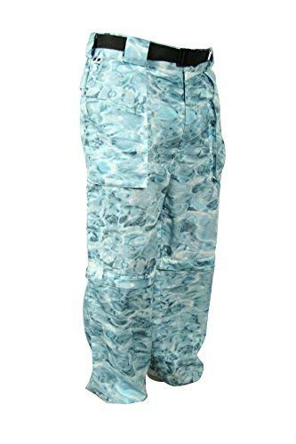 (Aqua Design: Fly Fishing Mens Convertible Wading Pants Zip Off Legs Shorts: Aqua Sky: Size 2XL)
