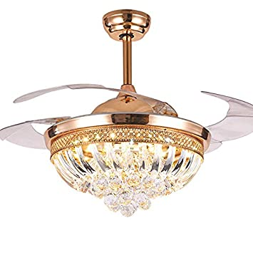 Modern 42 LED Ceiling Fan Light Crystal Stealth Blades Bright Dimmable with Remote for Restaurant Living Room Meeting Room