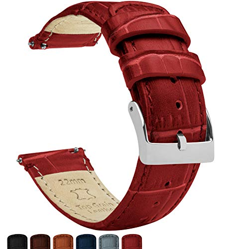 22mm Crimson Red - Barton Alligator Grain - Quick Release Leather Watch Bands (Leather Watch Band Red)