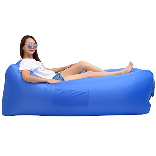 Weave Sofa (Inflatable Lounger Wind Breezy Pouch Couch Windbed Cloud Air Chair Sofa Bed Lazy Bag Been Sleeping Sand Beach Laybag Blow Up Original Lamzac Fast Hangout Outdoor Hammock Lounge Adults Kids Deep Blue)