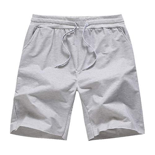 Pengy Men's Slim Fit Shorts Sports Summer Solid Color Pants Drawstring Open Bag Design Cotton Shorts Gray