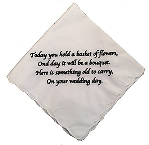 Flower Girl Gift Wedding Handkerchief Embroidered by Wedding Tokens - Flowers And Gifts