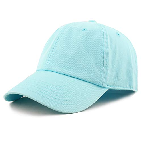 THE HAT DEPOT Unisex Blank Washed Low Profile Cotton and Denim Baseball Cap Hat (Aqua) -