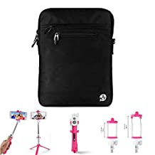 """Premium Tablet Shoulder Bag Carrying Pouch 10.1"""" + Bluetooth Remote Control Selfie Stick for Asus PadFone / Transformer Pad / Transformer Book / Nexus / Memo Pad / Alcatel OneTouch / Amazon Fire 10"""