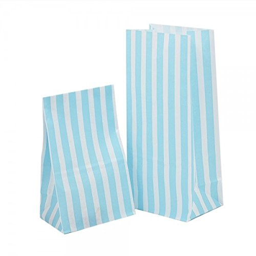 10 x BLUE CANDY STRIPE SWEET / PICK AND MIX PAPER PARTY BAG – BUFFET BAGS 10.5cm X 23cm X 7.5cm