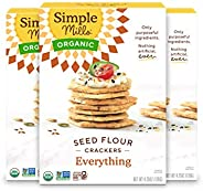 Everything Crackers, Simple Mills Seed Crackers, Gluten Free, Flax Seed, Sunflower Seeds, Corn Free, Low-Calor