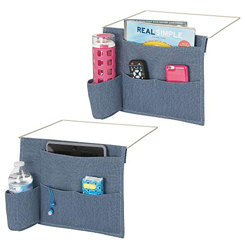 mDesign Bedside Storage Organizer Caddy Pocket - Slim Space Saving Design, 4 Pockets - Heavy Cotton Canvas - Holds Water Bottles, Books, Magazines - 2 Pack - Denim Blue/Wire Insert in Matte Satin