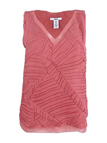 Bar III Women's Textured V-Neck Sleeveless Pullover Top, Rose, Medium ()