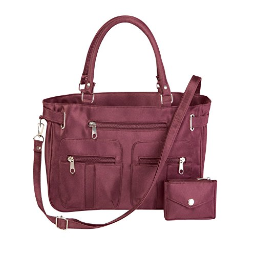 Women's Stylish Double-Handle Zippered 6-Pocket Microfiber Handbag and Matching Coin Purse, Burgundy, ()
