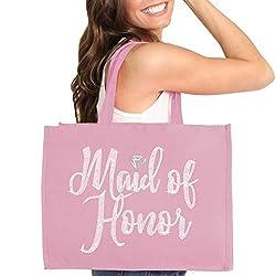 Blush Pink Maid Of Honor Diamond Motif Rhinestone Totes