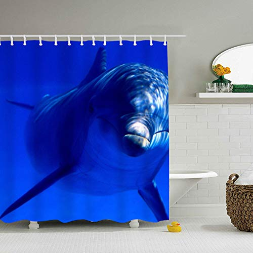 Mweet Underwater Dolphin Eco-Friendly Shower Curtain Water Repellent, Everyday Shower Curtain Liner Mildew-Free 71 × 71 inch -