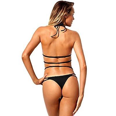 QIAO Bikini de Verano para Mujer, Traje de baño Dividido para Vacaciones, Bikini Sexy, Espalda Abierta, Dos Piezas, Espalda Abierta/Secado rápido (S - XL),B,M: Hogar
