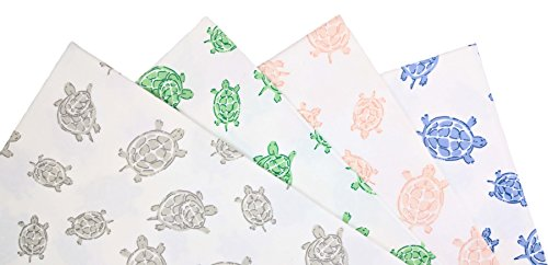 Fitted Crib Sheet in GOTS-Certified Soft Organic Cotton for Baby or Toddler Turtle Print Blue