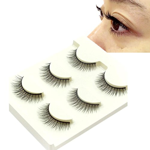 WensLTD 3Pairs Long Cross False Eyelashes Makeup Natural Fake Thick Black Eye Lashes (C) -