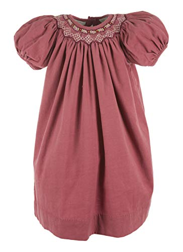 Carriage Boutique Girls Purple Flowers Short Sleeve Bishop Dress