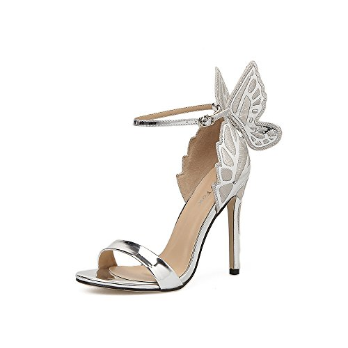 high The fine with stylish stereo shoes new dew ZHZNVX style women's Roman shoes heel shoes butterfly champagne buckle Ff4Uqx