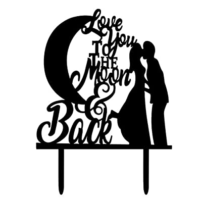 WINOMO Wedding Cake Topper Love You To The Moon and Back Cake Topper Cupcake Toppper Acrylic Cake Decoration for Wedding Engagement Party
