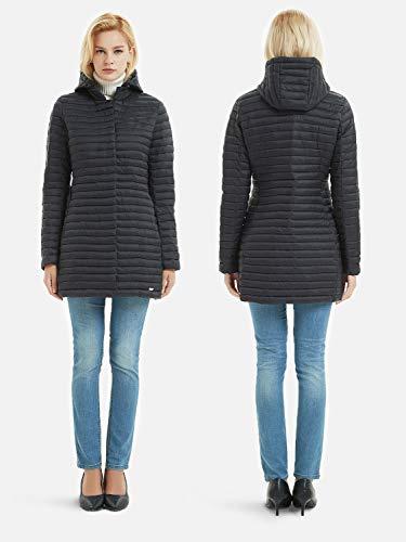 Felpa in nero all'acqua cerniera resistente l'autunno nascoste con cotone 2 cappotto e cappuccio Bellivera tasche adatto con gonfiato imbottita l'inverno imbottitura Ha per per donna rwxTrOqPg