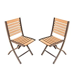 SunLife Folding Chairs Set of 2, Foldable Patio Bistro Garden Party Bars Cafe Chairs, Teak