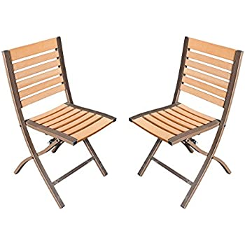 SunLife Folding Chairs Set Of 2, Foldable Patio Bistro Garden Party Bars  Cafe Chairs,