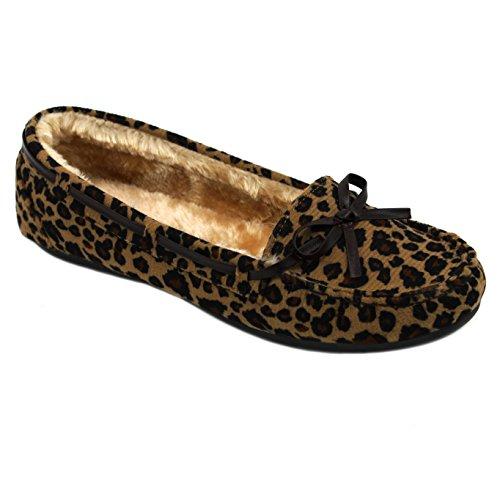 Solemate Frauen Faux Wildleder Pelz gefüttert Schlupf auf flachen Loafer Mokassins Leopard