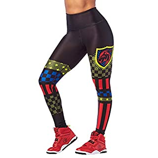 Zumba High Waisted Leggings for Women Dance Compression Butt Lift Workout Pants, Bold Black 3, XS
