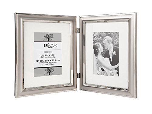 Hinged Silver Metal Double Picture Frame with Matting Fits 8x10 to 5x7