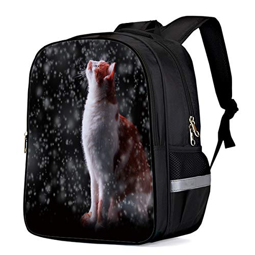 Water Resistant School Backpack, Cat Looked Up at the Snow Oxford 3D Print College Student Rucksack Daypack for School Camping Travel 33x28x16cm