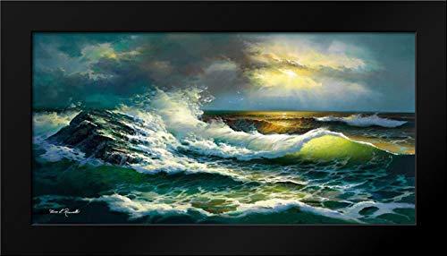 Ocean Waves 40x22 Modern Black Wood Framed Art Print by Romanello, Diane