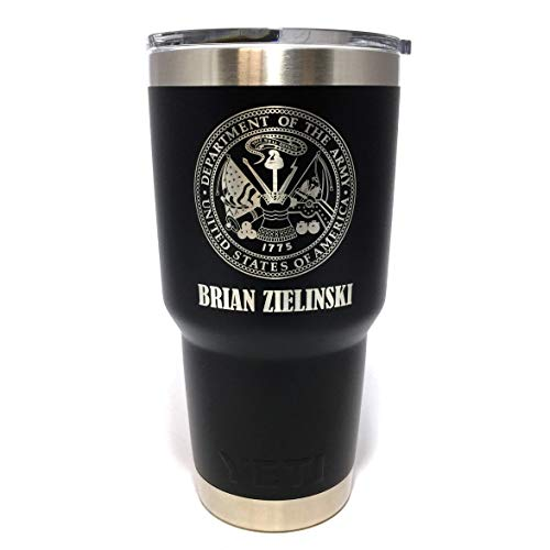 (YETI Rambler Engraved w/US Army Seal and Name)