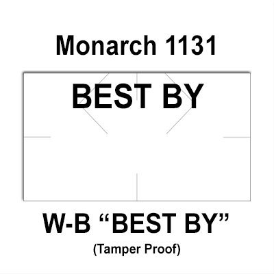 160,000 Monarch compatible 1131 ''Best By'' White General Purpose Labels to fit the Monarch 1131 Price Guns. Full Case + includes 8 ink rollers. by Infinity Labels