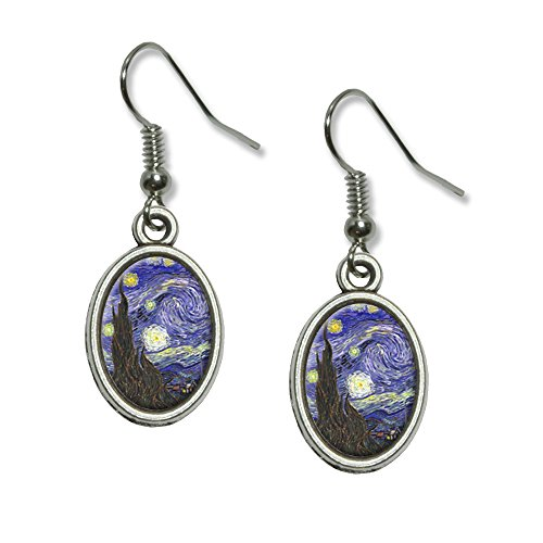 Starry Night - Vincent Van Gogh Novelty Dangling Drop Oval Charm Earrings